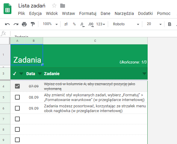 Zaplanuj swoje działania dzięki Google Sheets