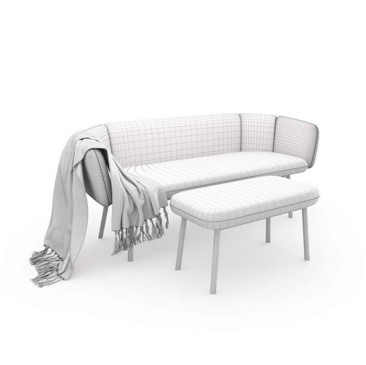 Na ilustracji widnieje czysty model 3d kanapy, 3D products packshot .