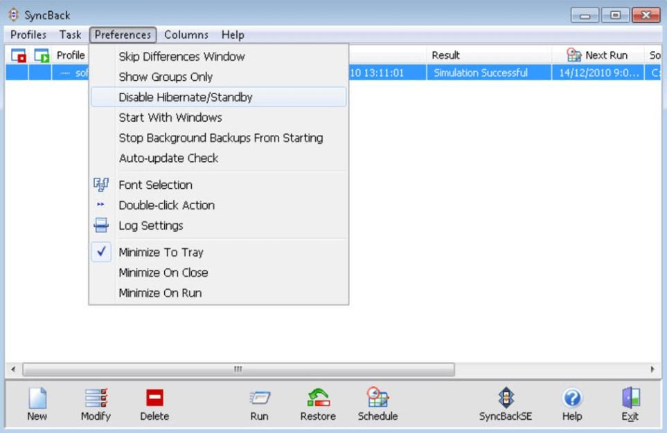 Screenshot interfejsu SyncBackFree