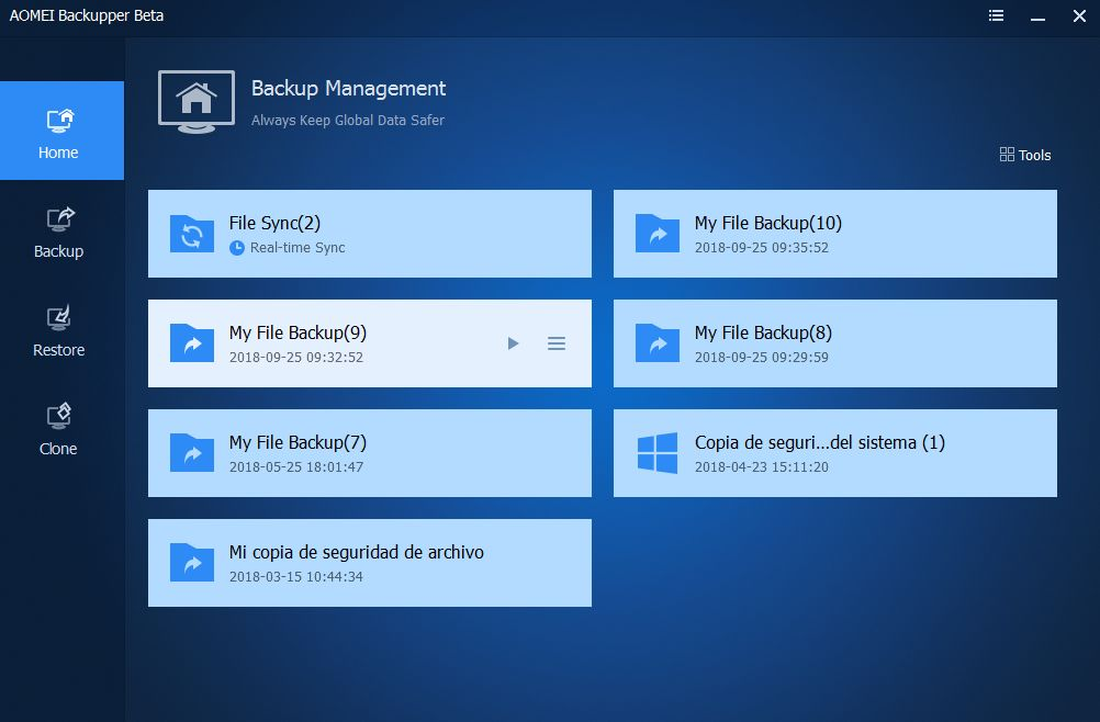 screenshot interfejsu AOMEI Backupper Standard