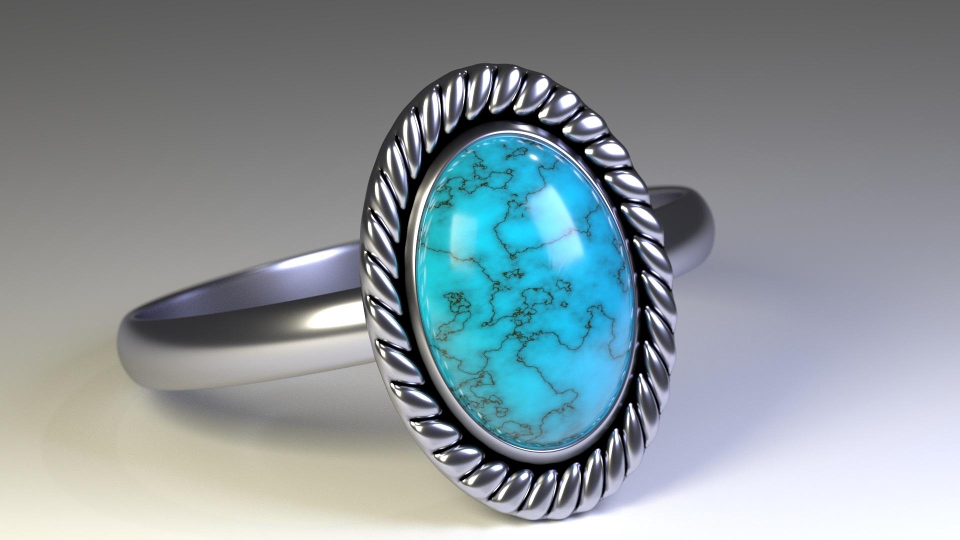 Na ilustracji widnieje niebieski, pierścionek wykonany w CGI.