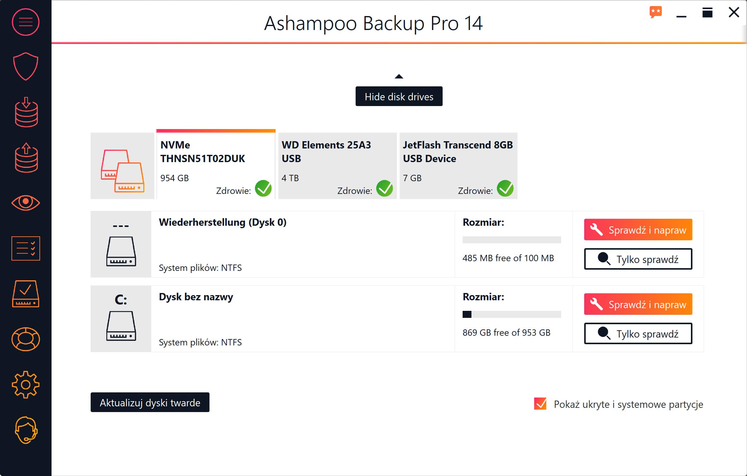 Screenshot interfejsu Ashampoo Backup Pro 14